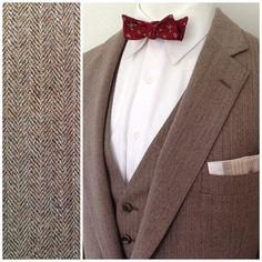 Vintage 1970's Men's Brown HERRINGBONE 3 Piece Suit   by bamapana, $95.00