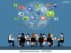 Vector team work Businessman brainstorming to think globally and meeting with  world maps used in business applications flat design