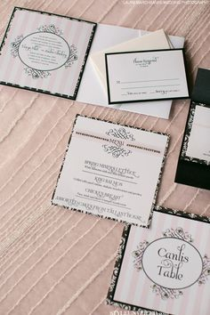 Blush & Black French Inspired Wedding Stationery by Chic Ink / Laura Marchbanks Wedding Photography / via StyleUnveiled.com