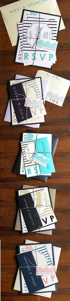 Modern Wedding Invitations, Lace, Stripes, Beacon Lane Favorite Color Customizations from 2014! Not to brag or anything, but our clients are awesome!