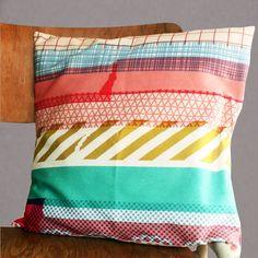 Washi tape cushion / pillow cover