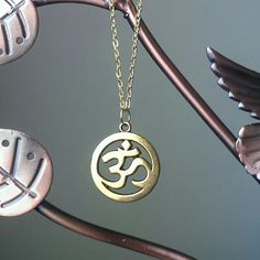 Om Necklace in Gold with Om Pendant on Gold Chain