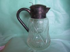 Large Vintage German Hallmark Silverplate and Glass Water Pitcher with Lid  #Germany