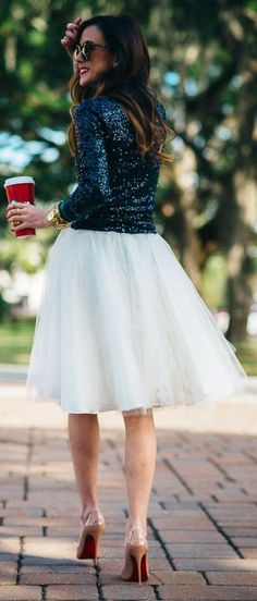 Fall / Winter - party style - holiday style - white tulle skirt or white pleated skirt + black sequin long-sleeve top + nude stilettos + black sunglasses