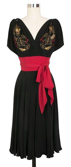 Trashy Diva Obi Dragon Dress | 1940's Inspired Dress | Embroidered Rayon Crepe De Chine WANT!!!!