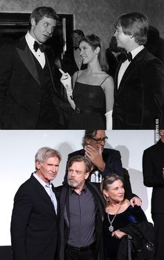 Star Wars premieres then and now. - Star Wars premieres then and now. - - Star Wars premieres then and now. – Star Wars premieres then and now. Star Wars Film, Star Wars Droiden, Star Wars Cast, Star Wars Gifts, Harrison Ford, Carrie Fisher, Hollywood Fashion, Hollywood Actor, Reylo