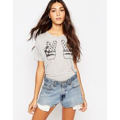 Zoe Karssen Peace Short Sleeve T-Shirt ($69) ❤ liked on Polyvore featuring tops, t-shirts, grey heather, crew neck tee, heather grey t shirt, heather t shirt, heather gray t shirt and short sleeve tees
