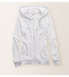 Light Heather Grey Aerie Full-Zip Hoodie - Our extra-cute, extra-cozy essential! #Aerie