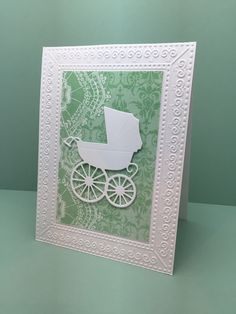 """Created by Christine Yoerger. Featuring Memory Box's """"Baby Carriage"""" die SKU 724382 and Darice embossing folder """"Interlocking Circles"""" SKU 717095 available at www.addictedtorubberstamping.com"""