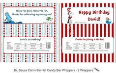 Custom Printable Dr Seuss CAT in the HAT Candy Bar Wrappers. $8.00, via Etsy.