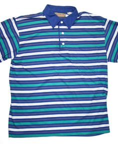 Vintage 90s Striped Polo Shirt Mens Size Large available at VintageMensGoods, $22.00