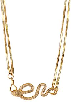 Pave Crystal Snake Pendant Dual Chain Necklace on HauteLook. Comes in Silver too