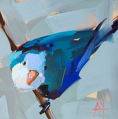 Blue Parakeet no. 4 original bird oil painting by Angela Moulton 6 x 6 inch on…