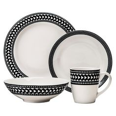 Nate Berkus™ Banded Arrow 16-Piece Dinnerware Set - Black
