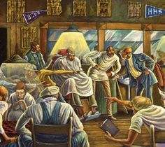 "ernie barnes paintings | The Palace Barber Shop"" by Ernie Barnes"