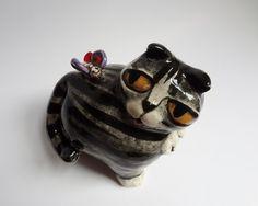 Gray Cat Folk Art Hand Built Sculpture by FlowerandPearlStudio, $68.00
