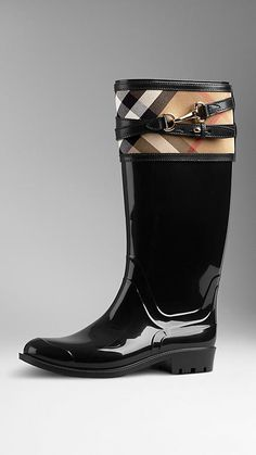 Burberry, House Check Buckle Detail Rain Boots in Black, $425