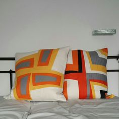 Modern Improv Log Cabin pillows, inspired by Sew Katie Did