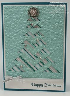 Stampin' Up! Stamping T! - Embossed Lace Folded Christmas Card