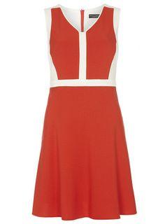 Orange Colourblock Skater Dress