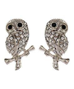 Silver Baby Owl Stud Earrings