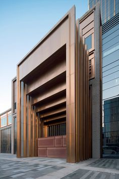 PVD stainless steel in Rose Gold Vibration was specified for door entries to create a sumptuous effect. Shanghai Bund Financial Centre. - Architects: Foster & Partners; Heatherwick Studio - PVD: John Desmond Ltd