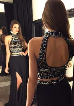 2016 Two-Piece Prom Dresses, High Neck Prom Dress, Open Back Prom Dress, Side Split Prom Dress, Sexy Evening Gowns