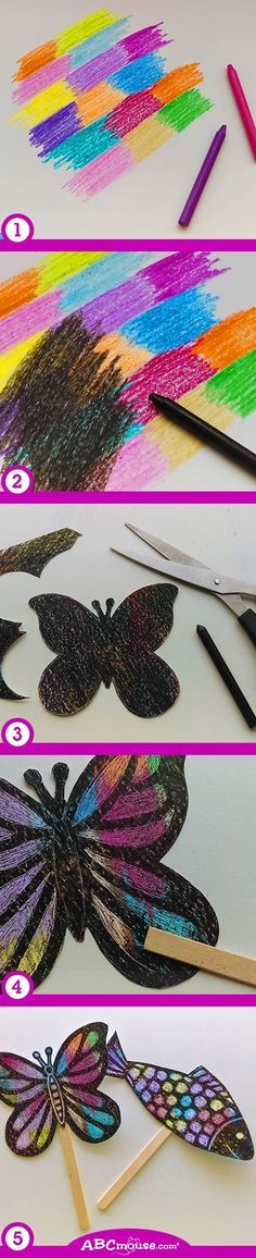 Make this versatile and colorful craft with your little one! 1) Use crayons to color different spots of bright colors on some paper. 2) Color over the area with a black crayon. 3) Cut out a shape. 4) Use the popsicle stick to scratch out the black and reveal the colors underneath. 5) You can also attach the paper shapes to a popsicle stick and encourage your child to tell a story using them as puppets. (Or simply hang as decorations.) by natalie-w