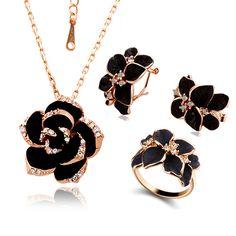 Купить Мода Роза Эмаль Комплект Ювелирных Изделий 18 К Позолоченный Черный…