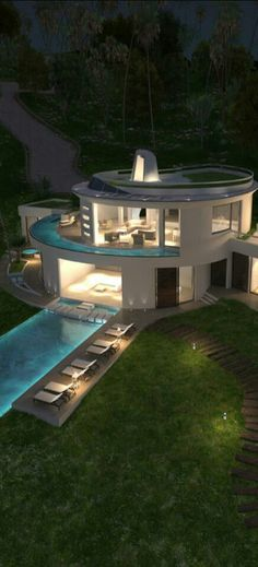 beautiful circular house with pool