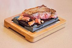 Lava grill stone/Steak stone Full set=1 stainless base+1 grill stone+ 1 bamboo tray