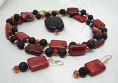 Lava rock and magnesite necklace and earrings.  Firelord.  $66