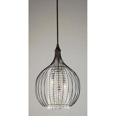Indoor 3-light Copper/ Crystal Pendant Chandelier - Overstock™ Shopping - Great Deals on Otis Designs Chandeliers & Pendants
