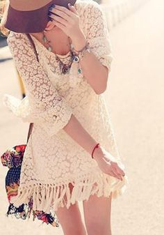 Love this Dress! Beige Embroidery Tassel Seven's Sleeve Loose Lace Dress #lace #tassel #dress #Spring #Summer #fashion