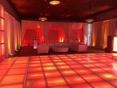 FULL ROOM LOUNGE DECOR WITH MIAMI WHITE SOFAS AND LIGHTED LED DANCE FLOOR & TABLES.  CONVERT THE LOOK OF ANY PARTY SPACE.  NEW YORK ATHLETIC CLUB; CENTRAL PARK SOUTH