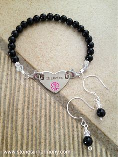 """""""Black Beauty"""" Handcrafted Medical ID Bracelet for Diabetes 