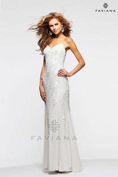 This white formal gown from Faviana is perfect for any bride not looking for an over-the-top dress.