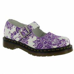 Dr Martens 5026 Womens Leather Mary Jane Shoes - White + Lilac 0876f1a42f6