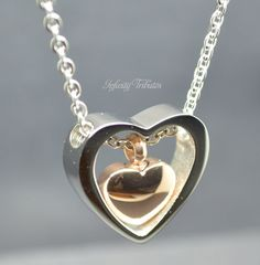 Keepsake Urn Pendant  Cremation Charm Necklace  Rose Heart