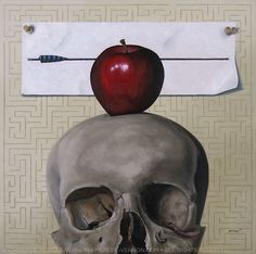 """pondering life: a conundrum"" 12x12 inch oil on panel. SOLD. Artist Christine Mercer-Vernon / mercer-vernon.com #skulls #skullpainting #skullart #oilpainting #art #vanitas"