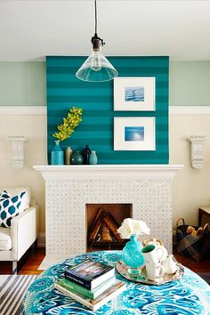 Globe and Mail Real Potential Turquoise Living Fireplace