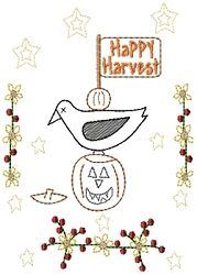 Happy Harvest Crow Sampler - 5x7 | Halloween | Machine Embroidery Designs | SWAKembroidery.com HeartStrings Embroidery