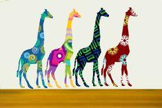 Colorful Giraffe Set Wall Decals Stickers Giraffe Wall by Popitay, $30.00