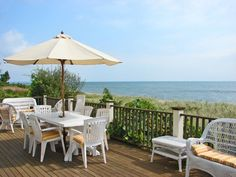 Could spend a lot of time admiring the  views of Nantucket Sound from the deck of this Cape Cod home.