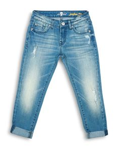 7 For All Mankind Girls' Distressed Cuffed Jeans - So cute!  I've no more capris and boyfriend fit is supposed to be very in style this spring!