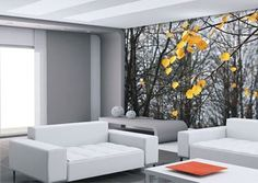 Fotobehang bos zwart-wit in woonkamer