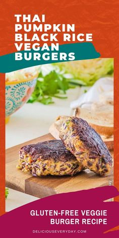 These pumpkin and black rice burgers just might be the best vegan burgers you've ever made! Loaded with flavor from roasted butternut pumpkin, black rice, and a homemade curry paste - they're totally delicious and simple to make too! Easy Vegan Dinner, Vegetarian Recipes Dinner, Vegan Dinners, Quinoa Burgers, Vegan Burgers, Homemade Curry, Black Rice, Tasty, Yummy Food