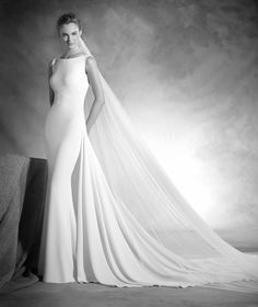 Niza - Vestido de novia sin mangas, escote de pico en espalda