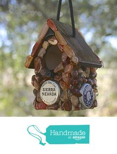 Miniature Stone Bird House Handmade Tree Rustic Decoration Bottle Caps & Brown Stones from RocksntwigsBirdhouses https://www.amazon.com/dp/B01IX4H5IY/ref=hnd_sw_r_pi_dp_ZvCRybDP9WNA6 #handmadeatamazon