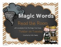 I love using the Magic Tree House in my classroom. I have been attending many conferences that are encouraging vocabulary being implemented more into the classroom. This product is geared towards helping your students complete their study of Twister on Tuesday with a focus on vocabulary.